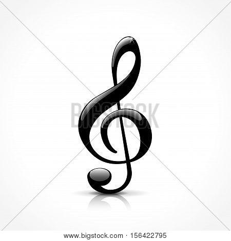 illustration of treble clef icon on white background