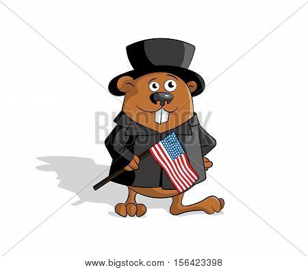 Groundhog in hat cilinder with usa flag. Flat design. Vector illustration.