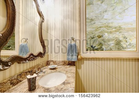 Close Up Of Bathroom Vanity With Marble Top