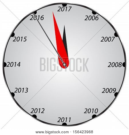 three dimensional clock showing New Year 2017 at 12 o clock