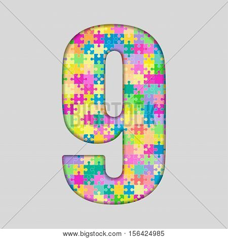 Vector Puzzle Jigsaw Number - 9 Nine. Gigsaw made of Colored Puzzle Piece - Vector Illustration. Puzzle Font. Creative Toy Numbers. Web Design and Graphic Vector.