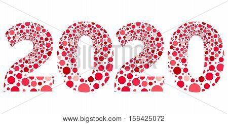2020 Happy New Year red and pink bubbles vector isolated symbol
