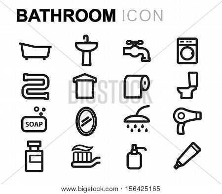 Vector line bathroom icons set on white background