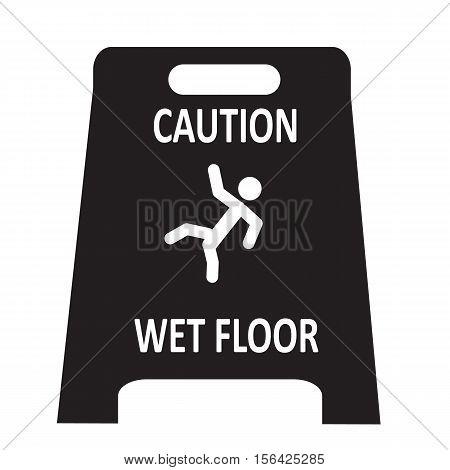 slippery wet floor icon on white background.