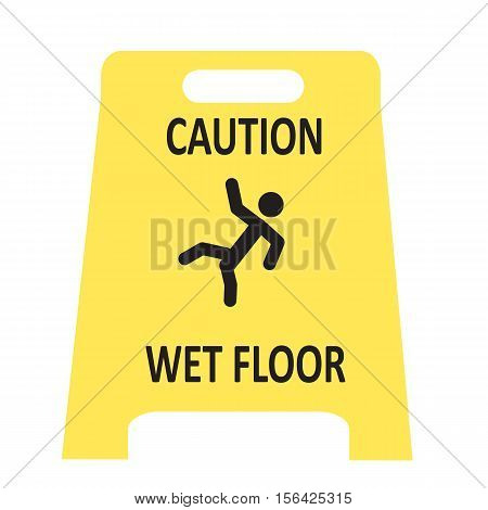 slippery wet floor icon on white background.