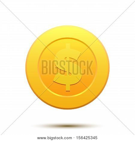 Vector Illustration of golden coin with Dollar symbol