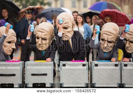 KRAKOW, POLAND - SEP 17, 2016: Participants of Krakow Theatre Night festival - KTO Teatre (Peregrinus, written by J. Zon) in Main Market Square. Entry to all shows of Theatre Night is free.
