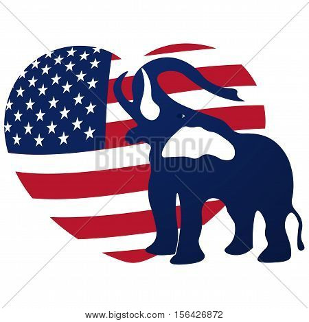 Republican elephant in the background of the heart in the colors of the American flag. Republican victory in US elections. Vector illustration