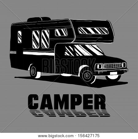 Vector illustration of isolated Hand Drawn, doodle Camper, car Recreation transport, Vehicles Camper Vans Caravans Icons. Motor home. Object with text.