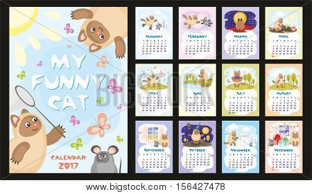 Wall  or desk monthly calendar for year 2017 with funny cat and mouse. Cheerful colourful illustrations about life of one cat. Vertical orientation. Set of 12 Months. Week starts Sunday. Vector.
