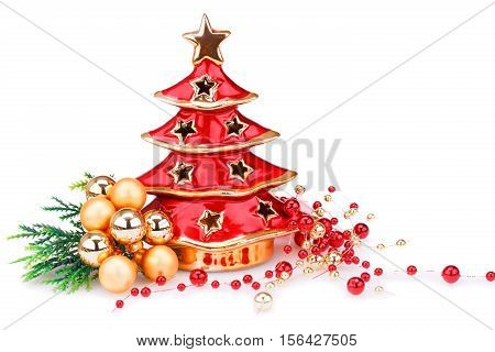 Christmas balls and decoration isolated on white background.