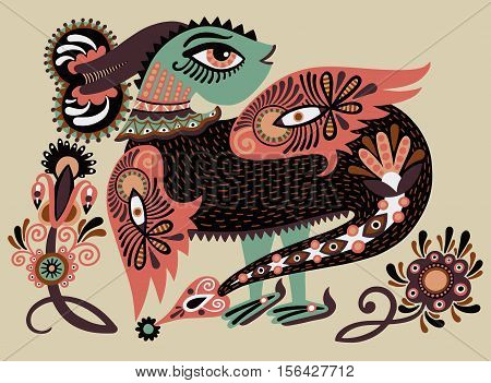ethnic fantastic animal doodle design in karakoko style, unusual animal, ukrainian traditional painting folkloric vector illustration