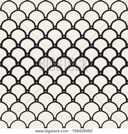 Vector Seamless Black and White Overlapping Circles Pattern. Abstract Geometric Background Design