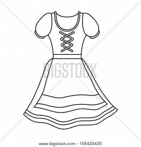 Dirndl icon in outline style isolated on white background. Oktoberfest symbol vector illustration.