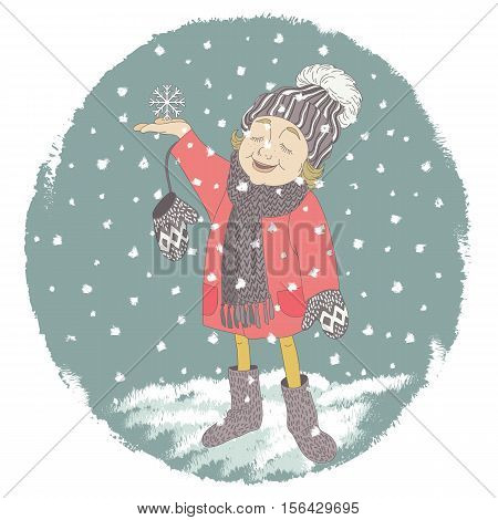 Cartoon character little girl child catch the first snowflakes. Vector illustration