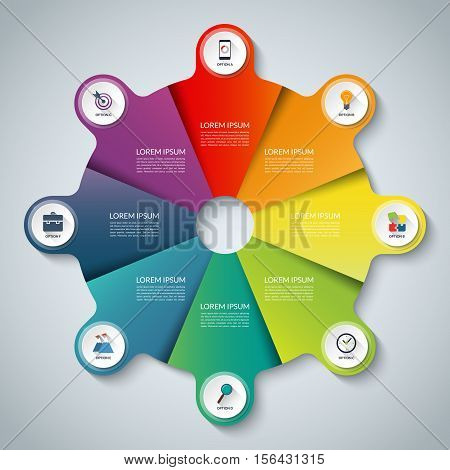 Vector infographic elements. Circle business template with 8 options, parts, steps or segments. Can be used for diagram, graph, presentation, chart, report, data visualization, web design