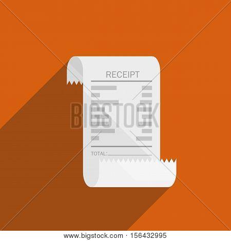 receipt bill icon flat design on orange background