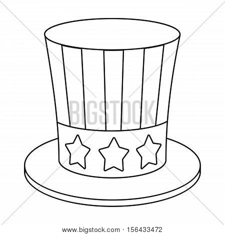 Uncle Sam's hat icon in outline style isolated on white background. Patriot day symbol vector illustration.