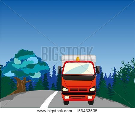 The Cargo car on road in wood in winter.Vector illustration
