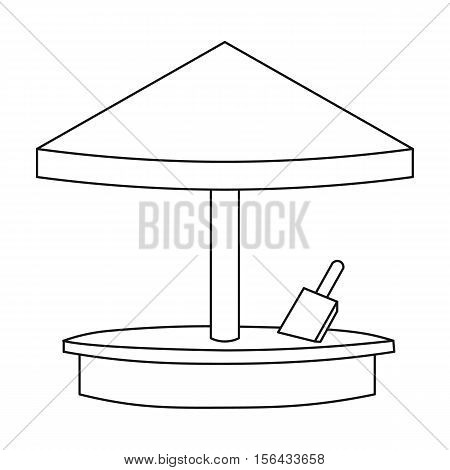 Sandbox icon in outline style isolated on white background. Play garden symbol vector illustration.