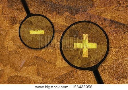 Mathematical signs for addition and subtraction under a magnifier