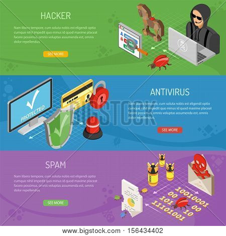 Internet security horizontal banners with isometric flat icons like hacker, virus, antivirus and spam. vector illustration.