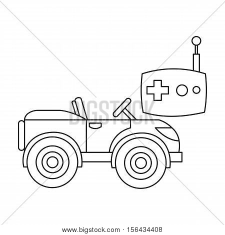 RC car icon in outline style isolated on white background. Play garden symbol vector illustration.