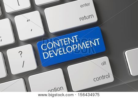 Concept of Content Development, with Content Development on Blue Enter Button on White Keyboard. 3D Render.