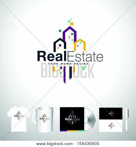 Real Estate Building Logo. Real Estate Icon. Vector Skyscraper Estate Logo