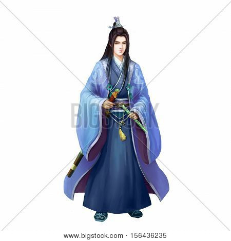 Ancient Chinese People Artwork: Pretty Young Man, GentleMan, Handsome Swordsman. Video Game's Digital CG Artwork, Concept Illustration, Realistic Cartoon Style Background and Character Design