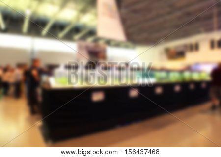 Pet shop aquariums blurred background