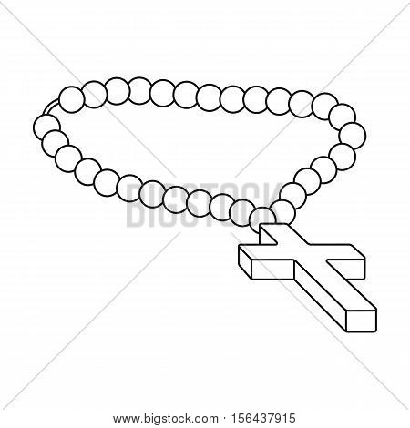 Christian rosary icon in outline style isolated on white background. Religion symbol vector illustration.