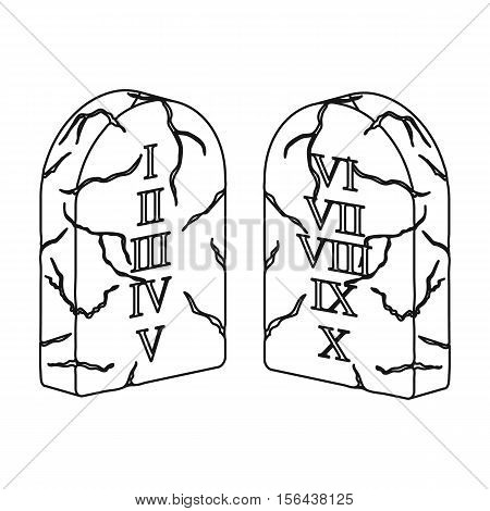Ten Commandments icon in outline style isolated on white background. Religion symbol vector illustration.