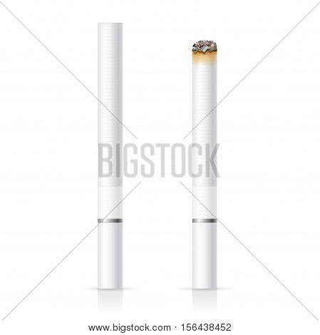 Realistic Cigarette with White Filter Tobacco Ashes. Vector illustration