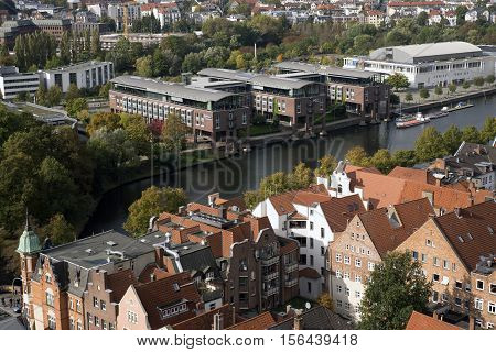 LUBECK GERMANY - OCTOBER 13 2016: View from the Saint Petri Church tower over the city Lubeck Germany. October 13 2016 Germany.