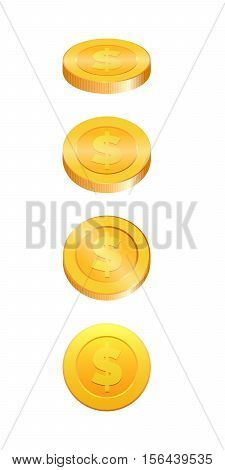 3d Gold coins vector illustration. Gold coin in four different shapes
