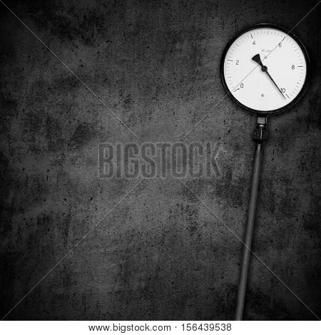 Pressure Gauge With Critical Value On Black Background