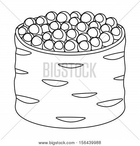Ikura gunkan-maki icon in outline style isolated on white background. Sushi symbol vector illustration.
