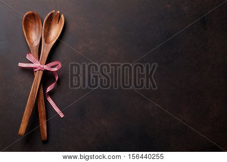 Cooking utensils on old stone table. Christmas cooking concept. Top view with copy space