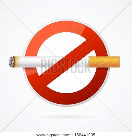 No Smoking Sign with Realistic Cigarette for Poster . Vector illustration