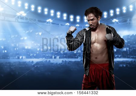 Sporty Asian Male Boxer With White Strap In His Wrist