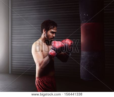 Athletic Asian Man Workout Boxing