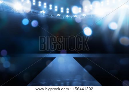 Spotlights Illuminate Empty Stage