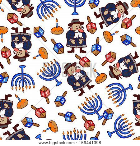 Hannukah, jewish winter holiday of light, traditional symbols in vector festive pattern. rabbi, menorah, dreidel, donuts, happy allover pattern.