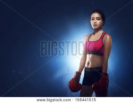 Beautiful Asian Woman Boxer Portrait