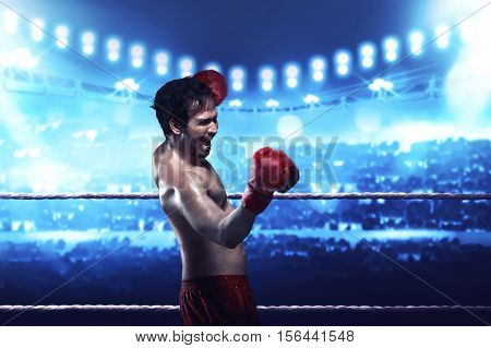 Asian Boxer Guy Expression With Boxing Gloves