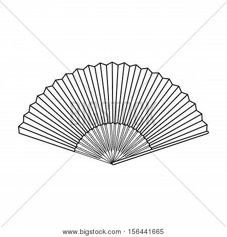 Folding fan icon in outline style isolated on white background. Theater symbol vector illustration