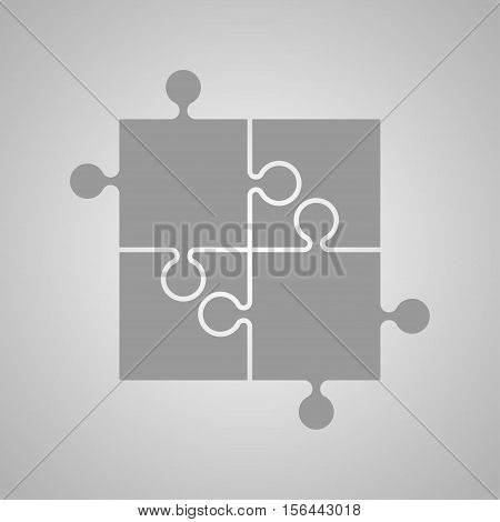 Four Grey Piece Flat Puzzle Round Infographic Presentation. 4 Step Circle Business Diagram. Four Section Compare Service Banner. Vector Illustration Template Shape . Abstract Background.