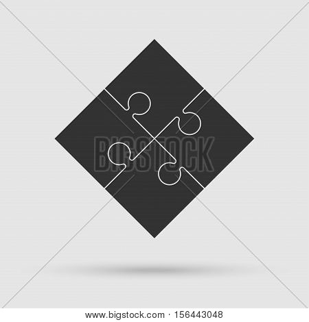 Four Black Piece Flat Puzzle Round Infographic Presentation. 4 Step Circle Business Diagram. Four Section Compare Service Banner. Vector Illustration Template Shape . Abstract Background.