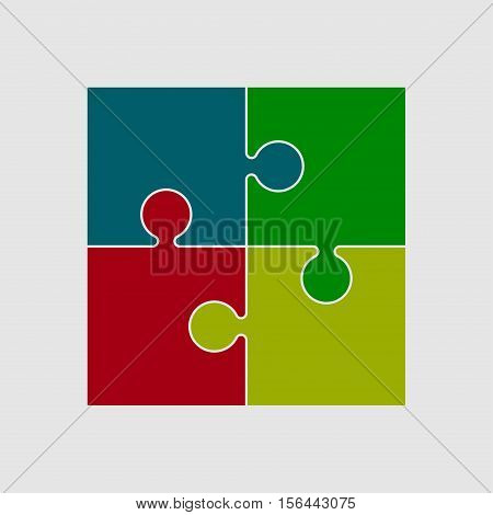 Four Color Piece Flat Puzzle Round Infographic Presentation. 4 Step Circle Business Diagram. Four Section Compare Service Banner. Vector Illustration Template Shape . Abstract Background.
